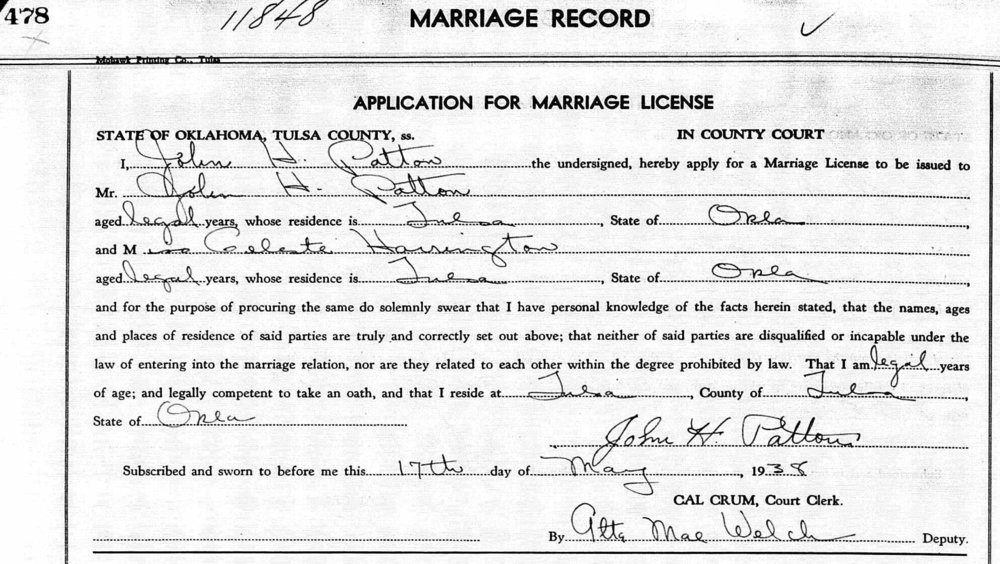 The Patton's marriage license.