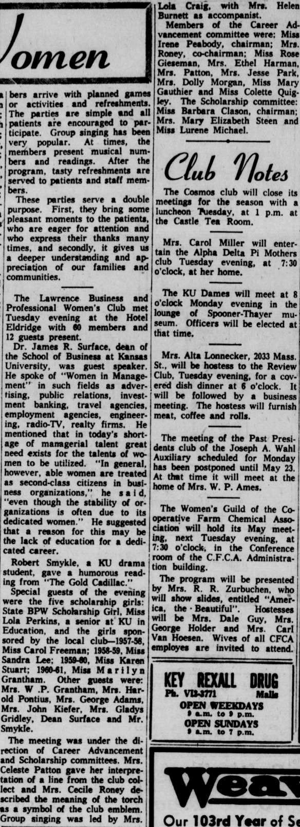 From the Lawrence Daily Journal World, May 6, 1960.