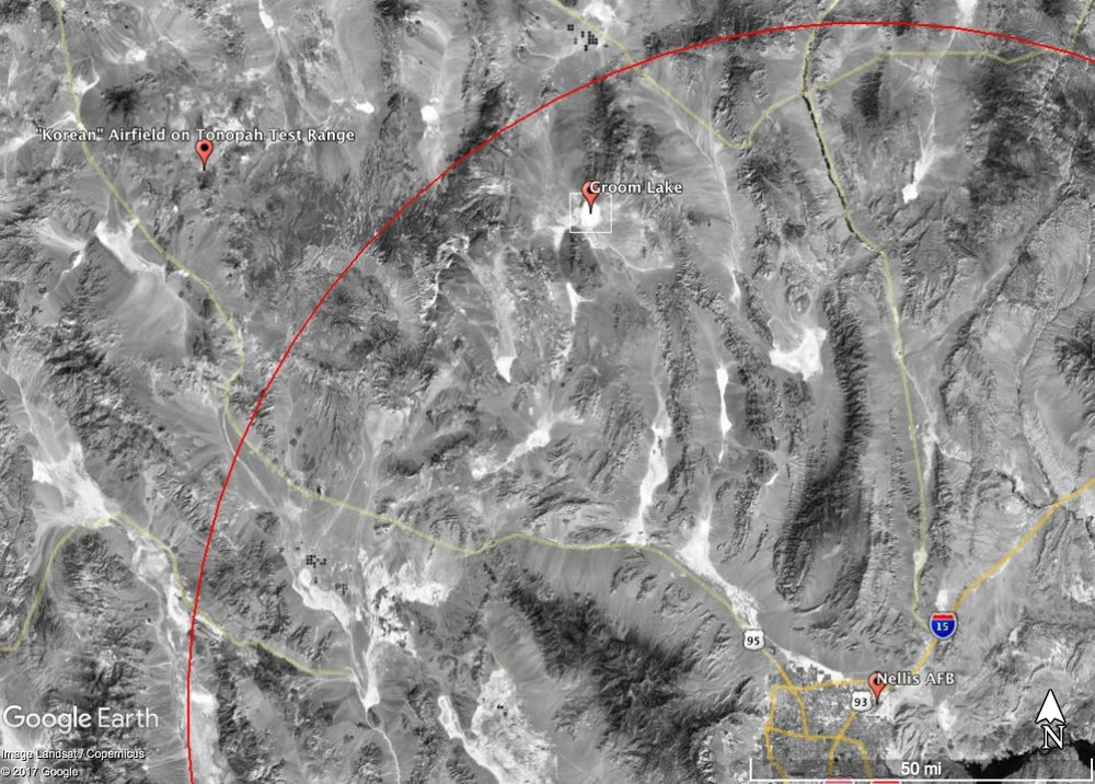 "100 miles from Nellis AFB (the red circle) places the crash roughly 20 miles from both Groom Lake and the ""Korean"" Airfield"