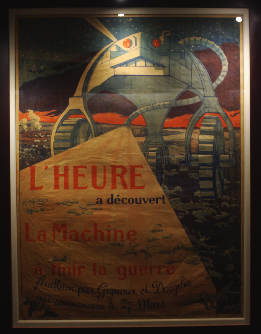 "Translation: ""The Hour Discovered [lit. Probably revealed or arrived in spirit]. The Machine to Finish the War"""