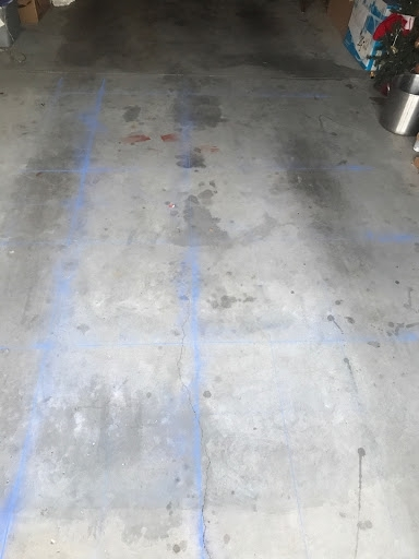 A (poorly) chalked grid for transferring enlarged sketches to the work surface (garage floor!)