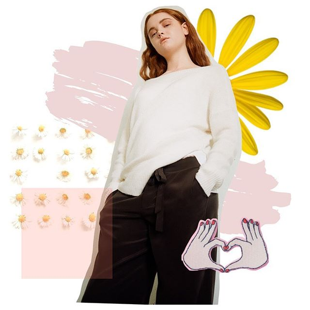 This is how I feel about a weekend off 🌼💗😎 . . @breebro7 looking cool in wardrobe styled by @cupcakemagic. photograph of Bree by @kmarcelo. hair+makeup+collage of feelings by me #pluckycharm 🙋🏼‍♀️