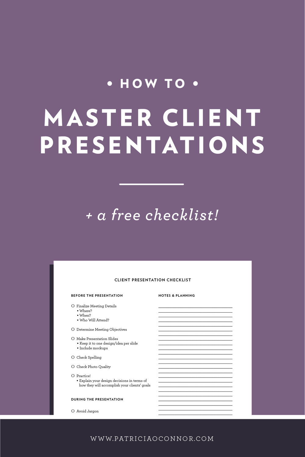 Learn how to master your client presentations with this post. Then download your free presentation checklist!
