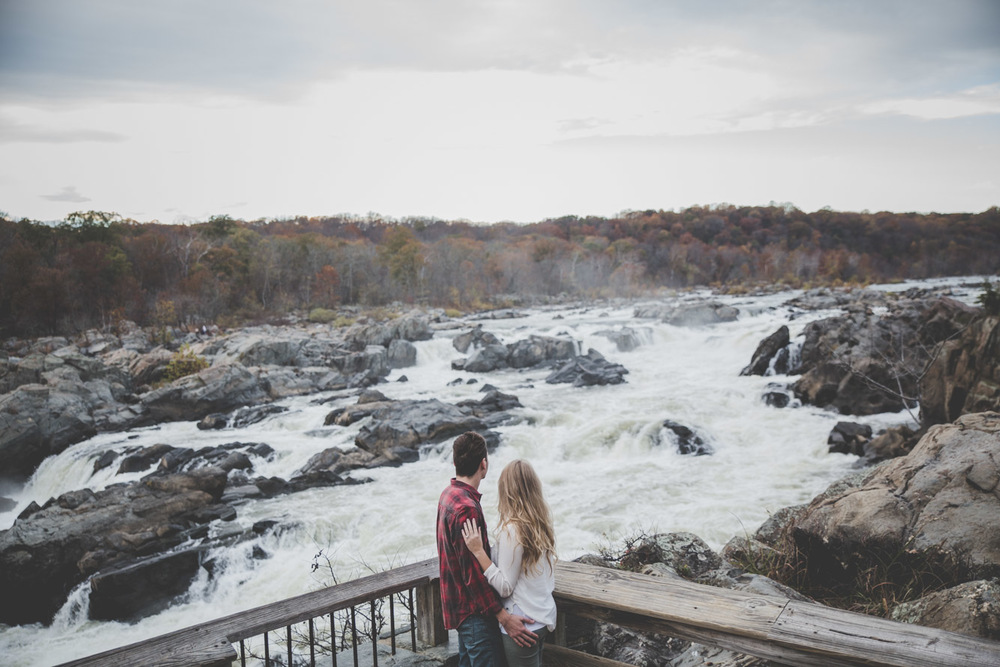 great falls waterfall engagement