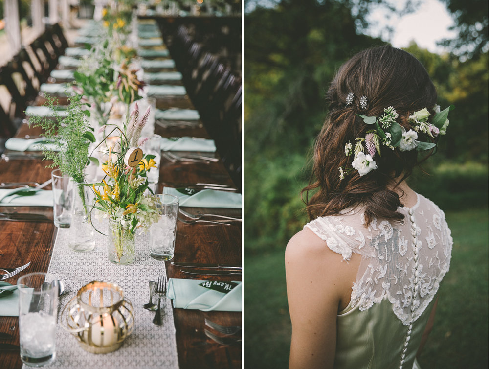 rustic wedding table decoration vintage dress wedding flower crown.jpg