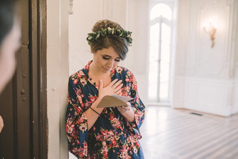 cylburn arboretum baltimore wedding bride reading grooms note.jpg