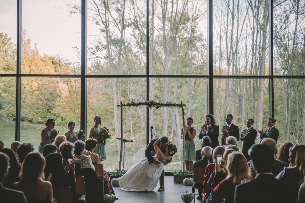 cylburn arboretum baltimore wedding ceremony deep kiss.jpg