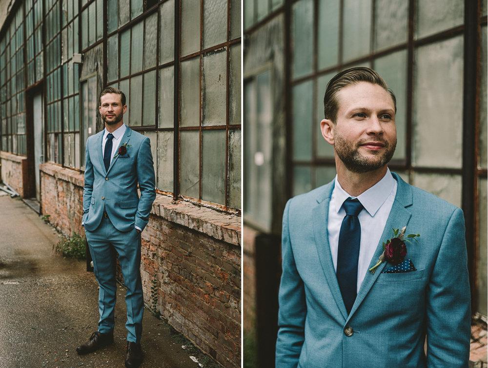 clipton mill baltimore industrial groom portrait blue suite wedding photographer .jpg