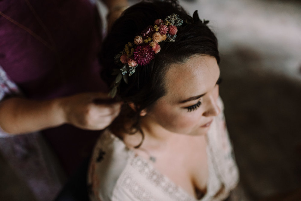 barbara O photography dc md camp wedding photographer rustic hair piece detail.jpg