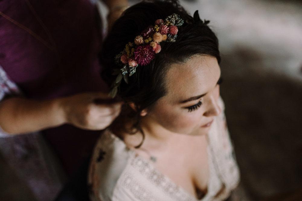 barbara O photography dc md camp wedding photographer rustic hair piece detail.jpg