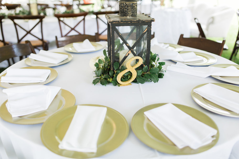 Wedding reception decor with lanterns