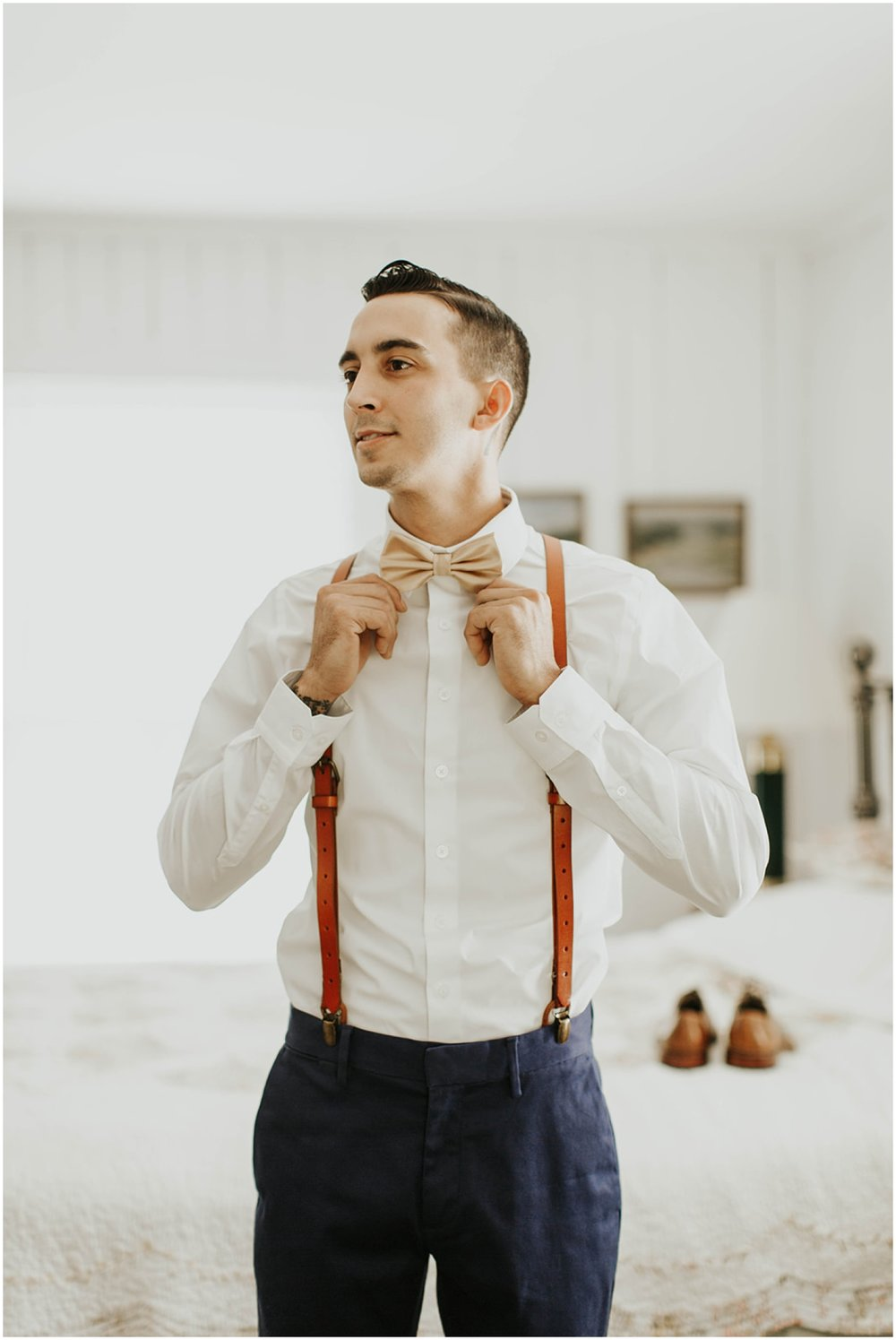 Groom getting ready for his wedding
