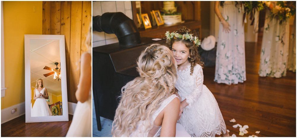 Bride kissing Flower Girl