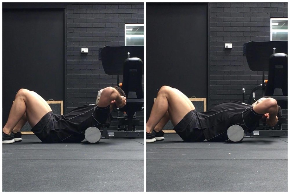 Basic 'Thoracic Extensions' over a roller can help mobilise your upper-back