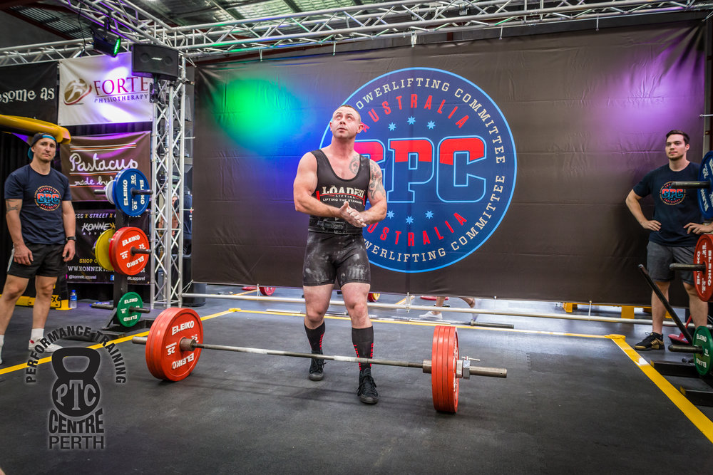 Patrick's new found strength and muscle-mass, enabled him to compete in a sanctioned Powerlifting competition where he performed well