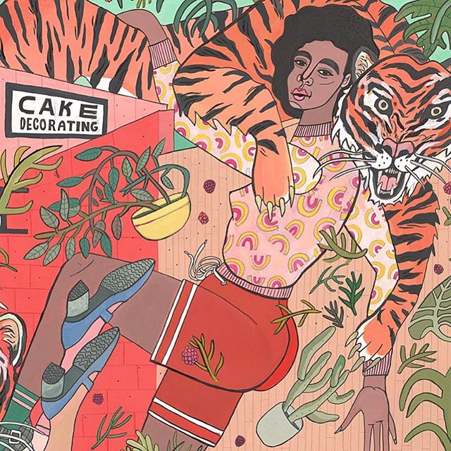 Keep wrangling those tigers, girls. 🐅 🐅🐅🐅🌿🌿🌿🌿🌿🔪🔪🔪🔪🍰🍰🍰🍰Close up of a new painting where giant ladies swim in a sea of cake, tigers, and scissors.