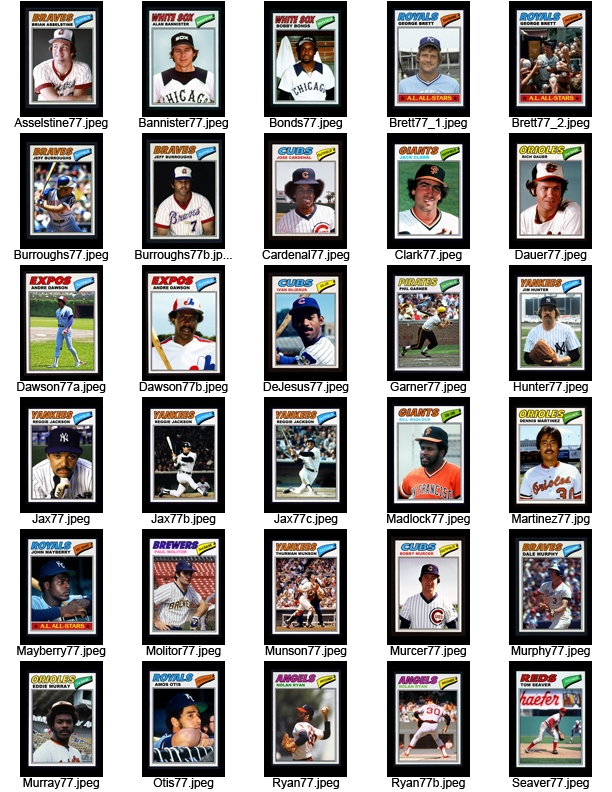 Phil Apostle's first sheet of home made baseball cards created in 2001.