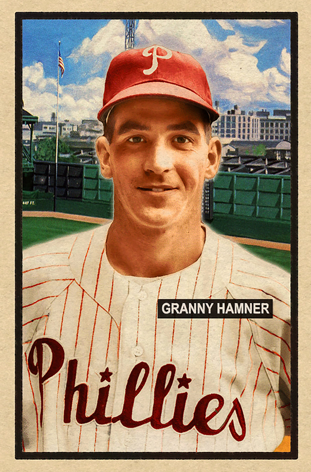 1951 Series #86GRANNY HAMNER - Popular Phils infielder and '51 Series low population with beautiful Shibe Park backdrop. One of 2017's prettiest cards.SOLD FOR 125.35 USD, December 2017