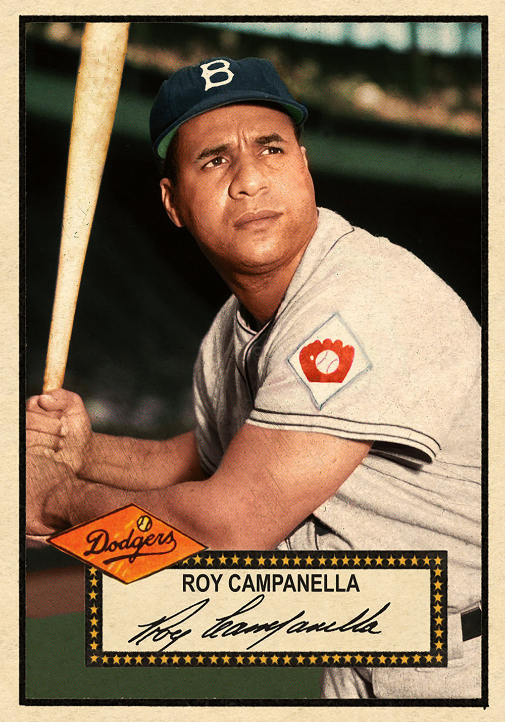1952 Series #275 ROY CAMPANELLA - I just love my Campanella cards. This image was from the summer of '51. Great care was taken to match Roy's soft skin tone and dark eyebrows. SOLD FOR  200.50 USD, December 2017