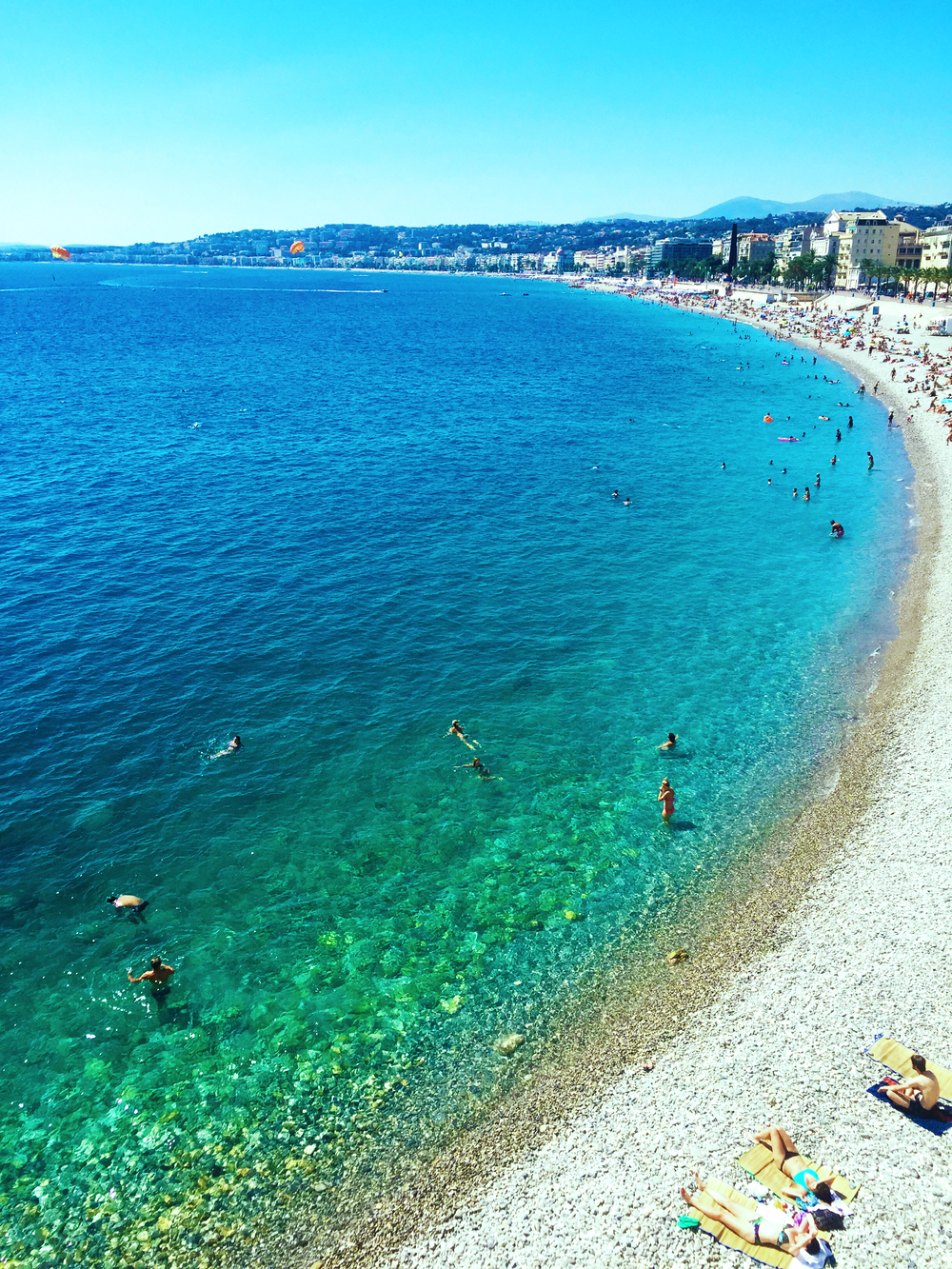 The beautiful beach in Nice during the day time