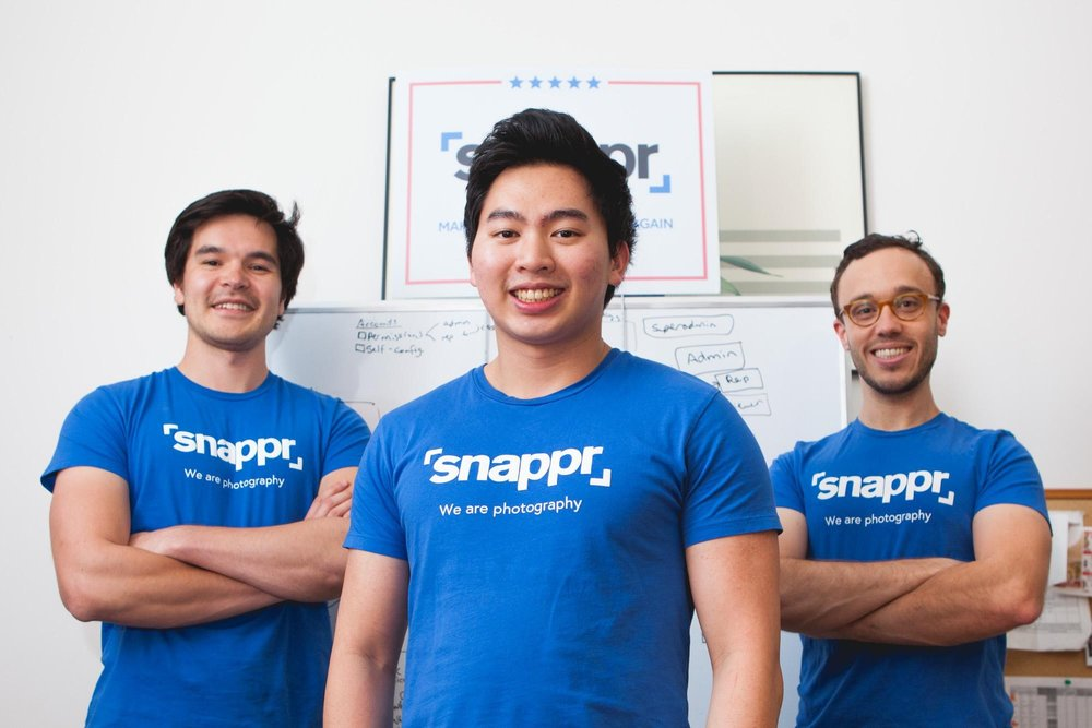 Marcus Loh (centre) with Snappr Founders Ed Kearney (L) and Matt Schiller (R).