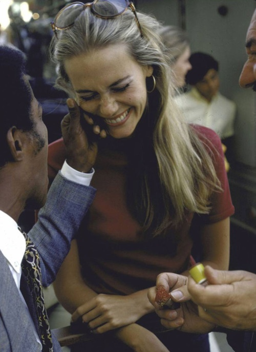 "supermodelgif: Peggy Lipton and Sammy Davis Jr. during the shooting of ""Mod Squad"" 1970"
