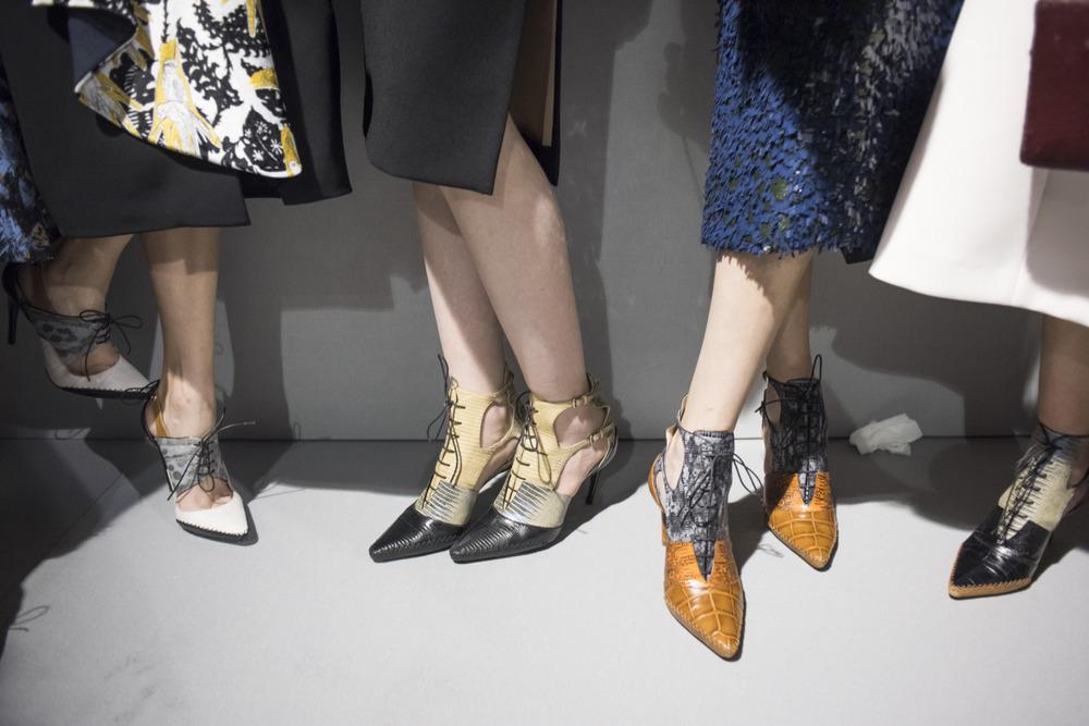 crfashionbook: One foot forward: Backstage before Christian Dior Fall 2016