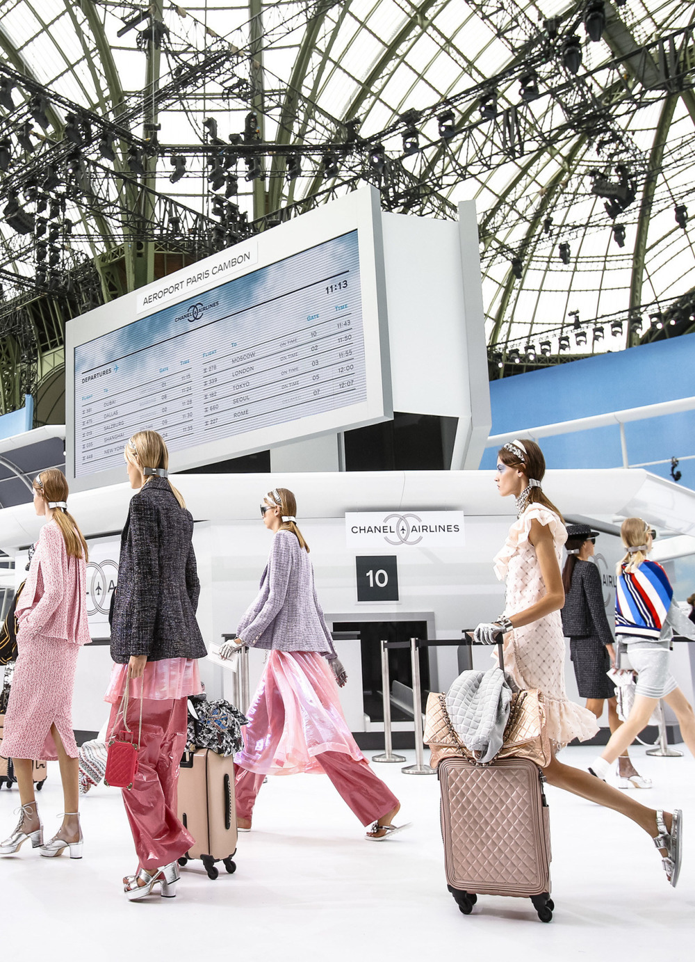 vogue: Karl Lagerfeld takes us for a ride on Chanel Airlines. Go inside Chanel's Spring 2016 runway show.