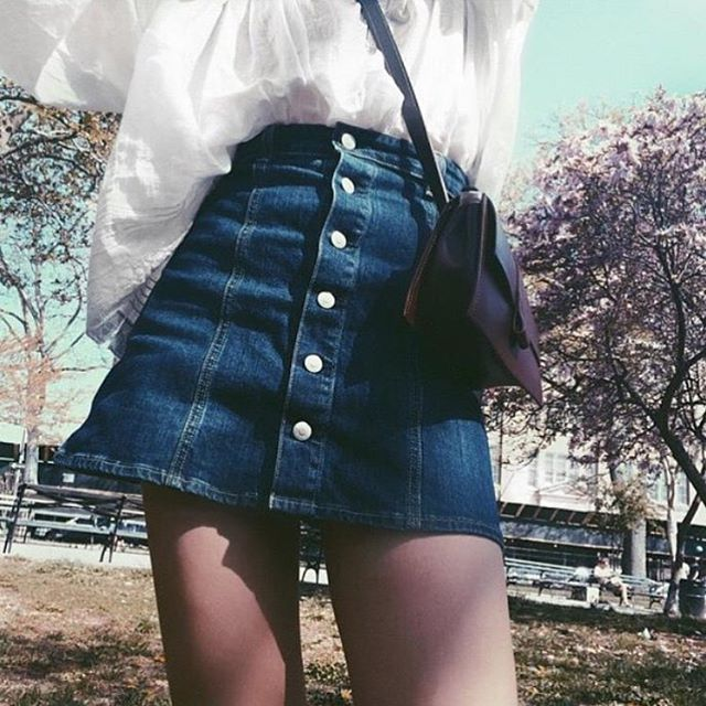 Anticipating summer in our favourite denim skirt #ACforAG Ketty Skirt #alexachung via @agjeans