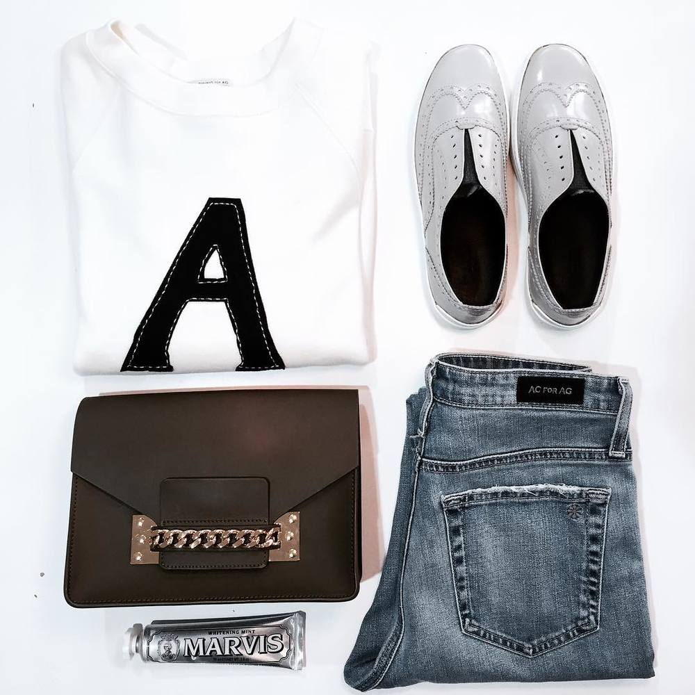 Tuesday looks like this. #ACforAG 'A' Sweatshirt and Sabine Jean, new Rag & Bone Meli sneaker, Sophie Hulme chain envelope bag & trusty Marvis toothpaste #gracemelbourne #ootd #alexachung #style #agjeans #ragandbone #sophiehulme #marvis (at GRACE boutique)