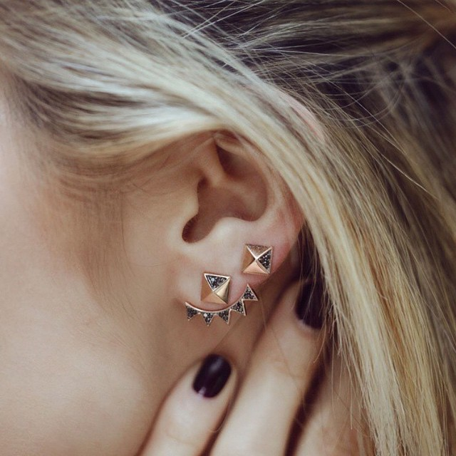 Some Friday morning ear bling with @sydneyevan pyramid studs #sparkle #gracemelbourne #sydneyevan