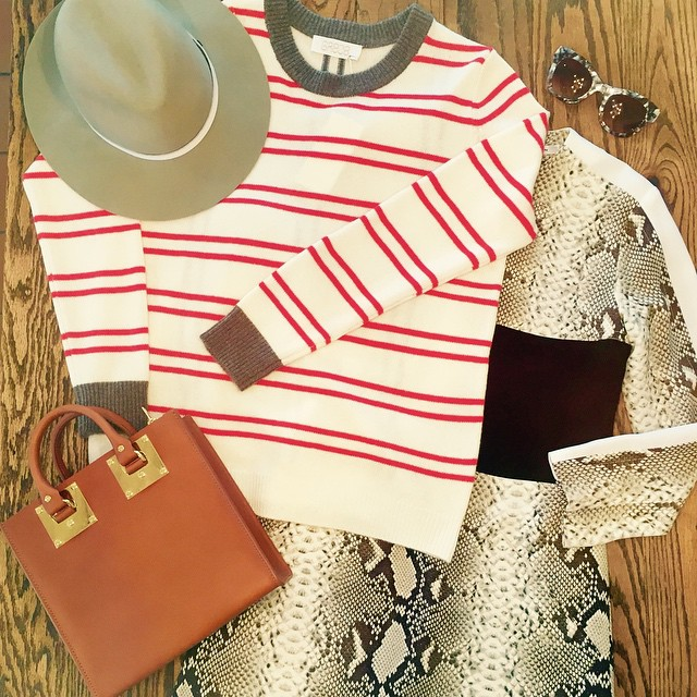 The perfect outfit for today's Melbourne chill! Our gorgeous new GRACE striped knit to keep your warm, layered over @carven_paris snake print dress. Pair it with a @sophie_hulme tote, a @rag_bone fedora and of course some @thierrylasry shades. #gracemelbourne #ootd #carven #sophiehulme #ragandbone #thierrylasry (at GRACE boutique)