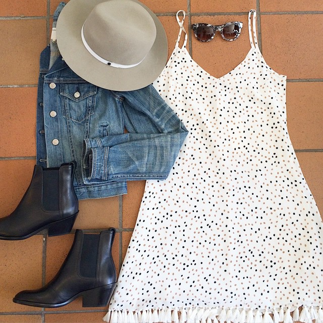 The perfect outfit for this tran-seasonal day. Our super cute new GRACE silk dress, paired with @rag_bone hat, denim jacket and Dixon boots (our current shoe obsession!) Finish it off with our trusty @thierrylasry shades. #GraceMelbourne #ootd #ragandbone #thierrylasry #autumn (at GRACE boutique)