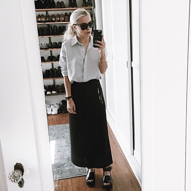 We love @alwaysjudging in her @frame_denim striped shirt - the perfect classic piece to wear casually or lend a tougher edge with black accessories. Instore and online! #framedenim #shop #GraceMelbourne #ootd (at www.gracemelbourne.com)