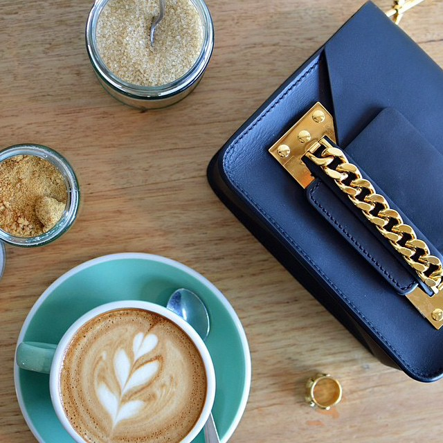#Morning! RG @statesofstyleaus - coffee with a side of Sophie Hulme's mini chain bag! #sophiehulme #coffee #bag #aureliebidermann #gracemelbourne (at Miss Frank)