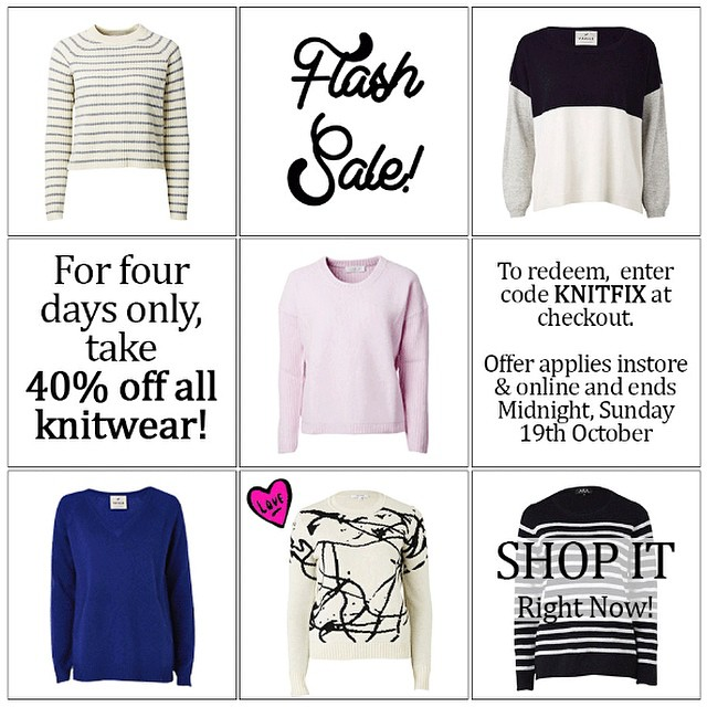 Get your knit fix… Our knitwear FLASH #SALE starts right now! Happy shopping! #gracemelbourne #knitwear #shop (at www.gracemelbourne.com)