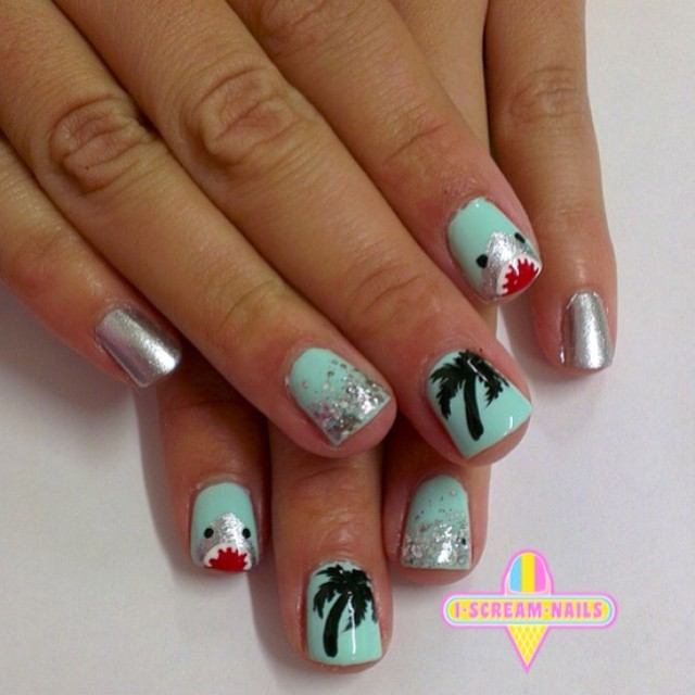 Love these shark and palm tree nails by our friends atiscreamnails!