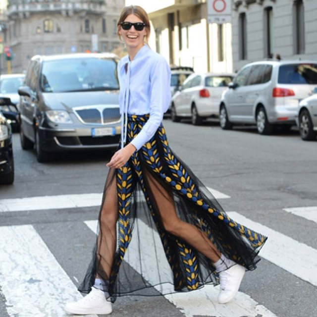 Good #morning! Some #streetstyle inspiration from the oh so fashionable streets of #MFW! #ootd