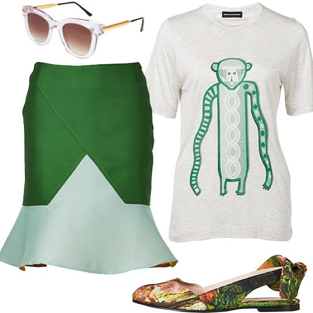 In case you were wondering, here's the outfit we'd like to be wearing for the rest of #summer! #OstwaldHelgason skirt and monkey tee, #Carven jungle flats and our trusty #ThierryLasry shades! ✌️ #ootd #fashion #style (at Grace)