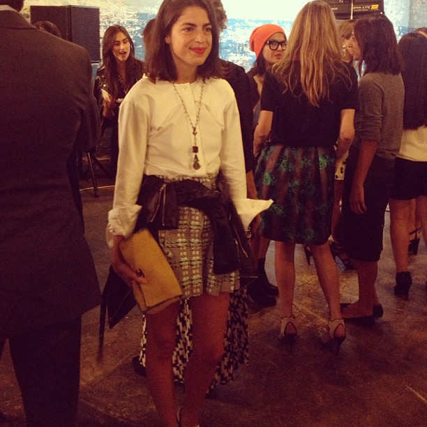 the-edit: Oh hey! @manrepeller posing for @bennycapp & @gracemelbourne at #nyfw @dannijo presentation.
