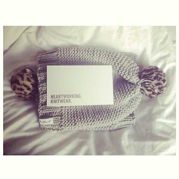 Our grey I Love Mr. Mittens leopard pompom beanies are back in stock - in-store and online! Get in quick, these babies have a habit of selling out before they're even knitted!