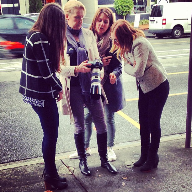 Checking the results of an early morning mini photoshoot with the fabulous Est Magazine