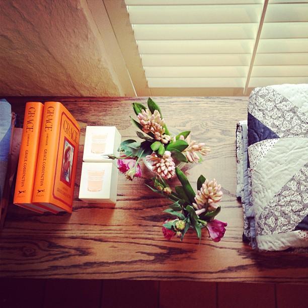 Gorgeous blooms, A.P.C quilts and candles + Grace Coddington's fabulous book!