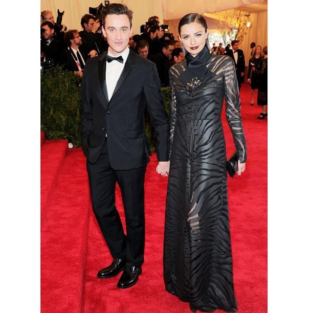 Carven designer Guillame Henri at the Met Gala with actress Kathryn Neale in an amazing zebra print Carven creation! Too beautiful!
