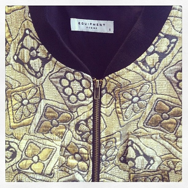Amazing gold Equipment bomber jacket, coming soon to Grace!