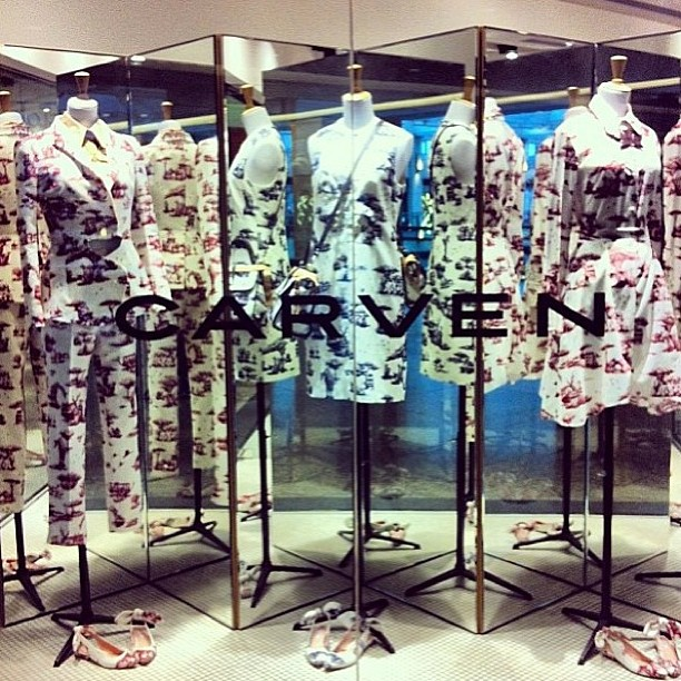 Regram @carven_paris loving the safari themed Carven windows! This stunning print is instore at Grace now!