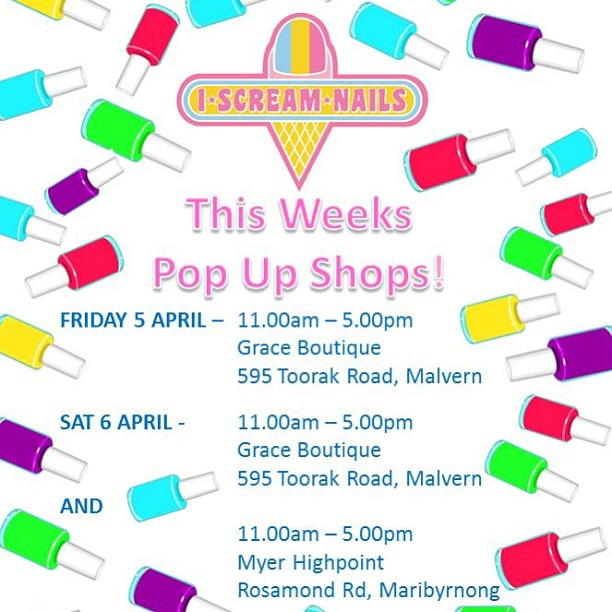 Can't wait to have the I Scream Nail girls here on Friday and Saturday! To book, email info@iscreamnails.com.au or call/SMS 0405 511 431… Spots filling fast so get in quick!