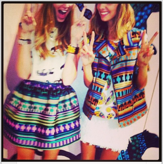 Candela Novembre and Chiara Ferragni at MSGM HQ - We sort of want to be them both right now…