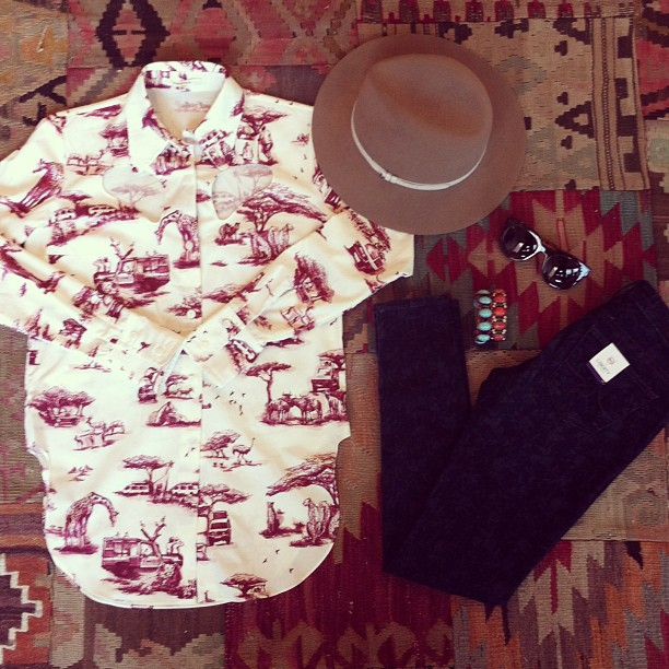 Our outfit of the day! Carven shirt, AG + LibertyPrints jeans, DanniJo cuffs, Rag & Bone hat and Thierry Lasry shades! (at Grace)