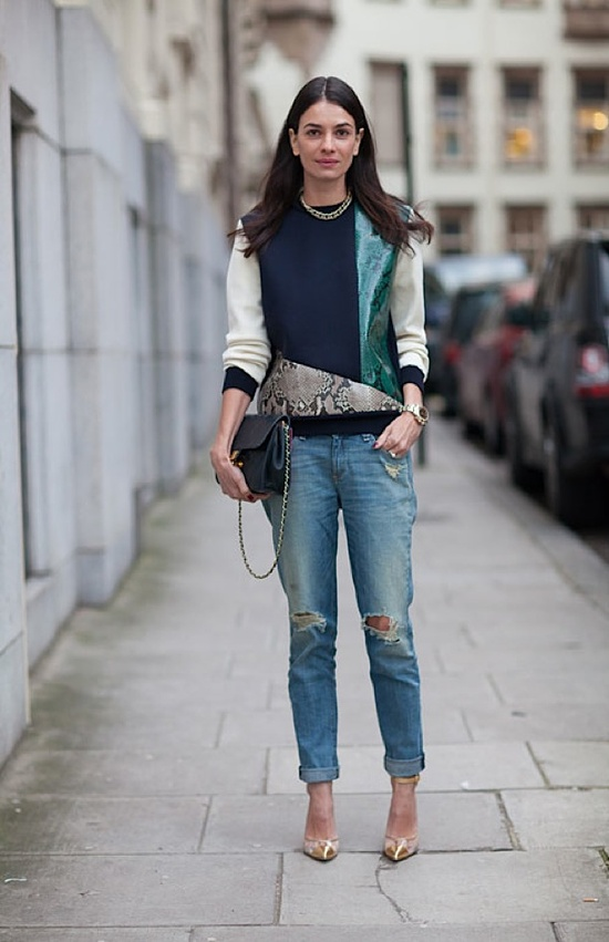 Super cool street-style look (we can't go past a bit of distressed denim and a metallic heel!) via Who What Wear